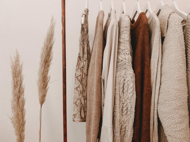 master closet hanging clothes
