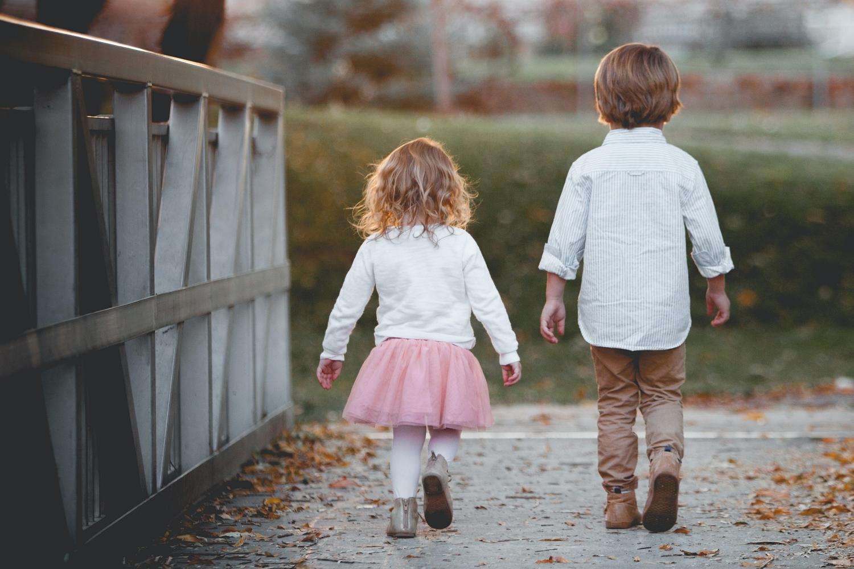 cute kids walking