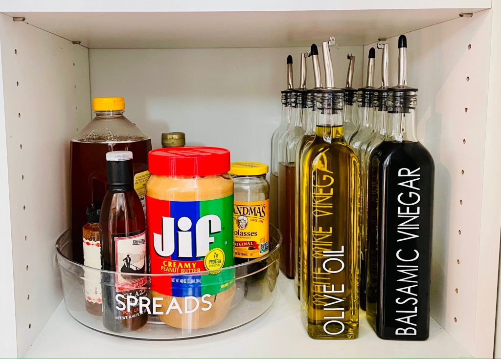 labeled food items in pantry